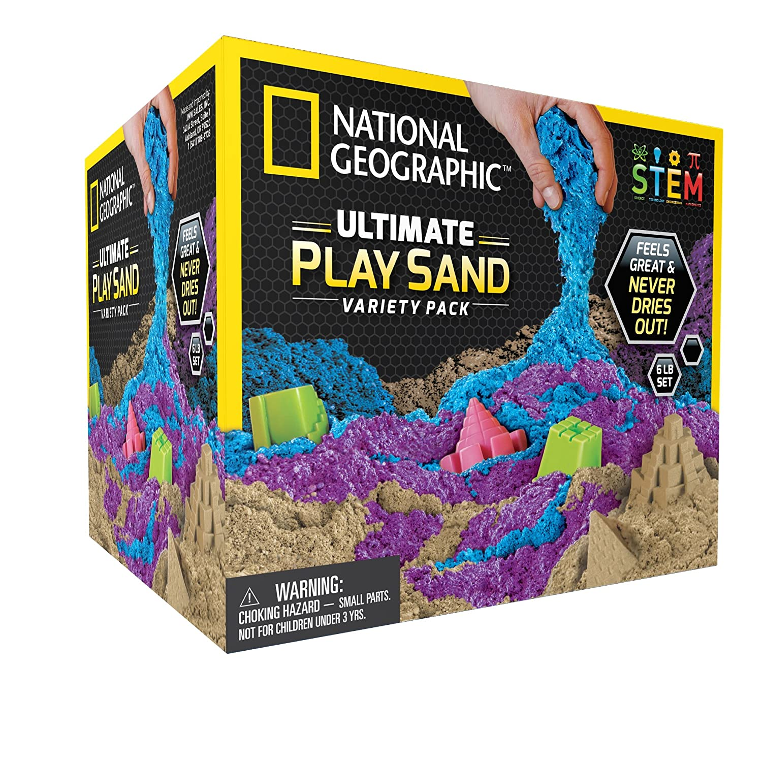 National Geographic Play Sand with Castle Molds and Tray - 2 lbs (Natural) - A Kinetic Sensory Activity NGSANDN2