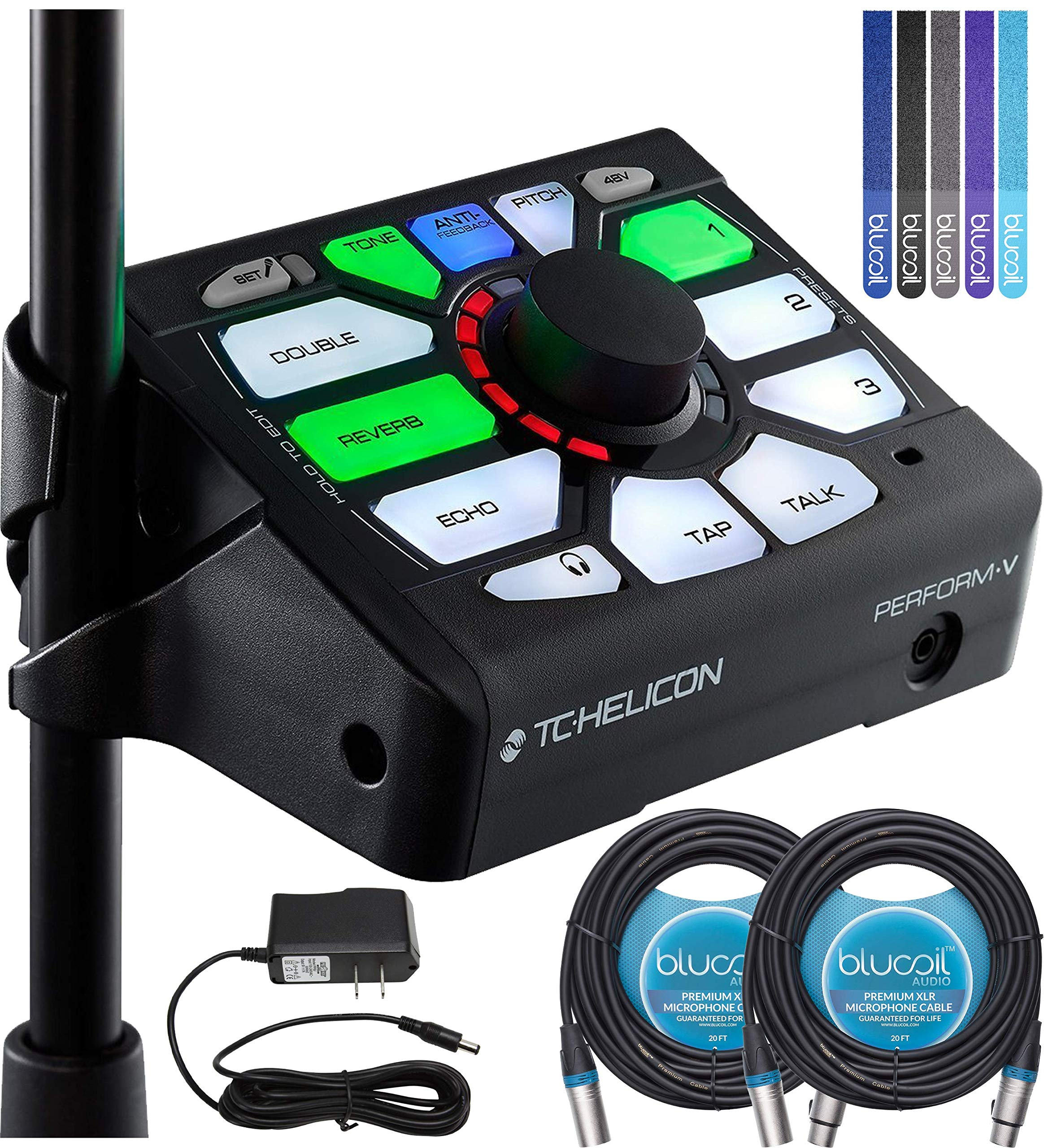 TC Helicon Perform-V Vocal Effects Processor Bundle with 12V 1000mA DC Power Supply, Blucoil 2-Pack of 20-FT Balanced XLR Cables, and 5-Pack of Reusable Cable Ties