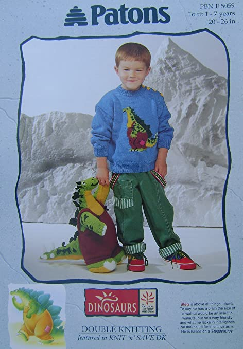Stegosaurus Dinosaur Picture Jumper Toy Knitting Pattern In Dk