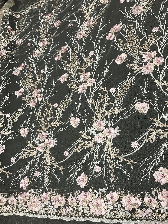 ピンク花柄Embroider withメタリック踏み板パールとrhinestones-nudeメッシュ。   B07B8W6575