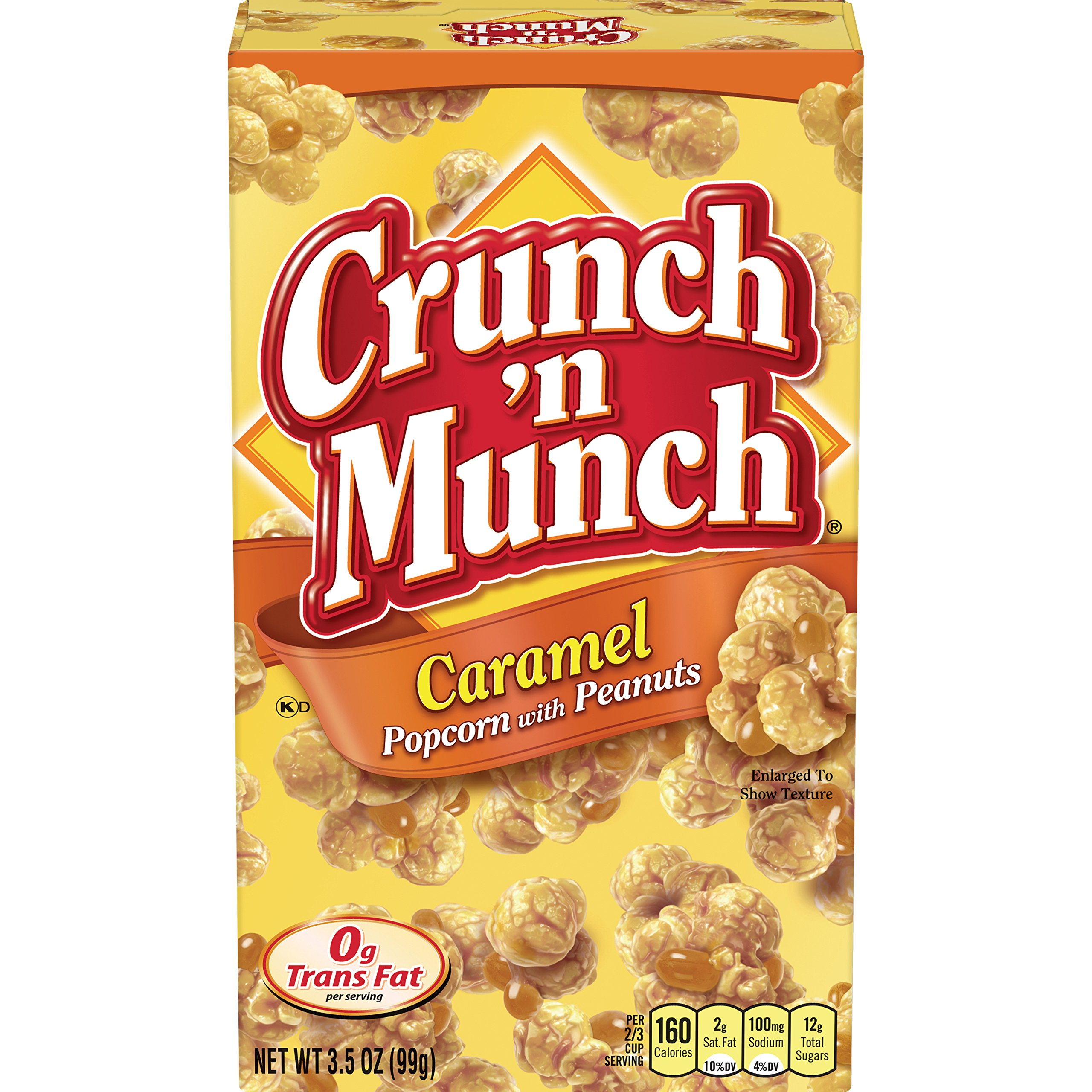 Crunch N Munch Caramel Popcorn with Peanuts, 3.5 Ounce (Pack of 12)