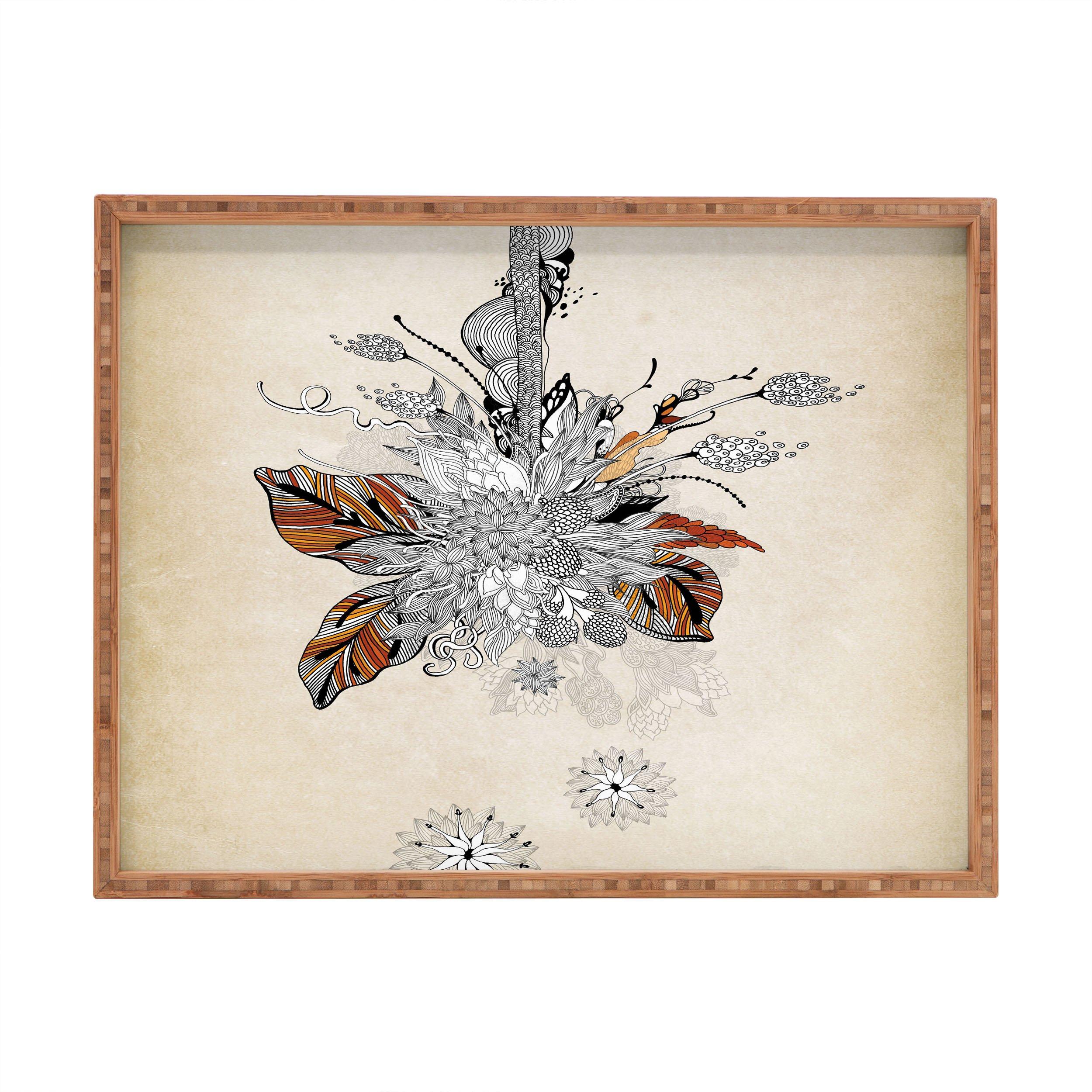 Deny Designs Iveta Abolina Floral 2 Indoor/Outdoor Rectangular Tray, 17'' x 22.5''