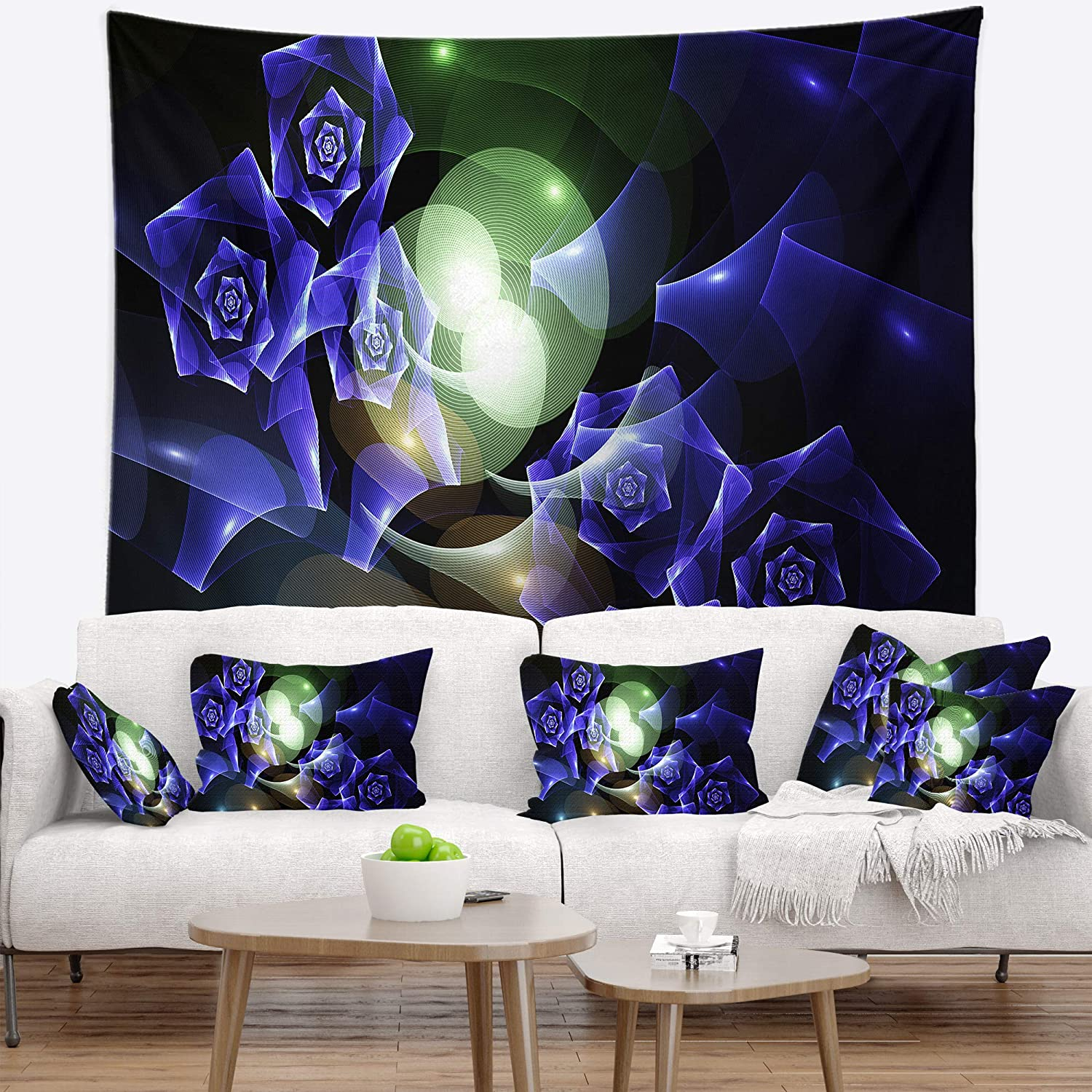 x Large Designart TAP16068-80-68 Blue Bouquet of Beautiful Roses Abstract Tapestry Blanket D/écor Wall Art for Home and Office 80 x 68