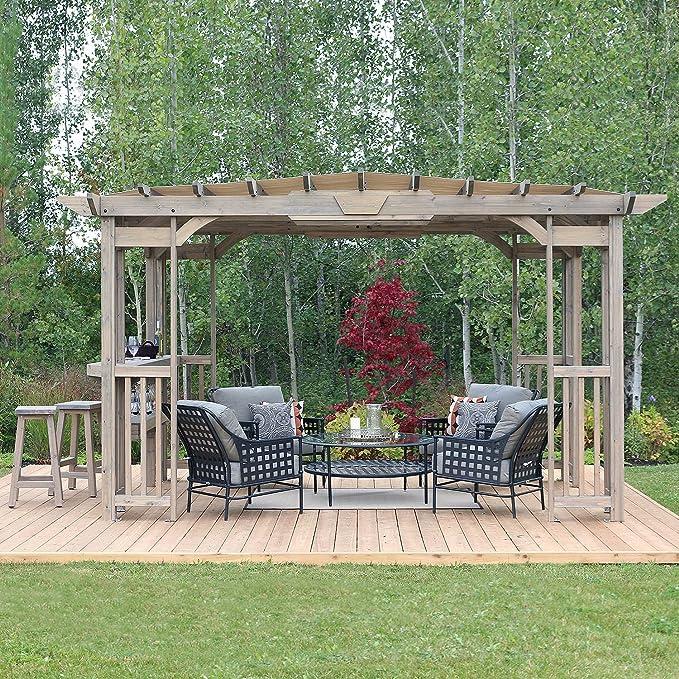 Cedar Pergola Gazebo con contador de barras y parasol en madera gris manchas 30, 48 cm x 20, 32 cm: Amazon.es: Jardín