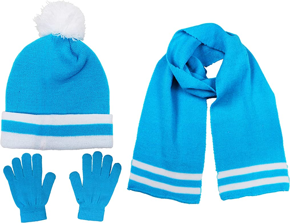 See More Colors S.W.A.K Kids Girls Knit Pompom Beanie Hat Scarf and Gloves Set One Size Fits Most