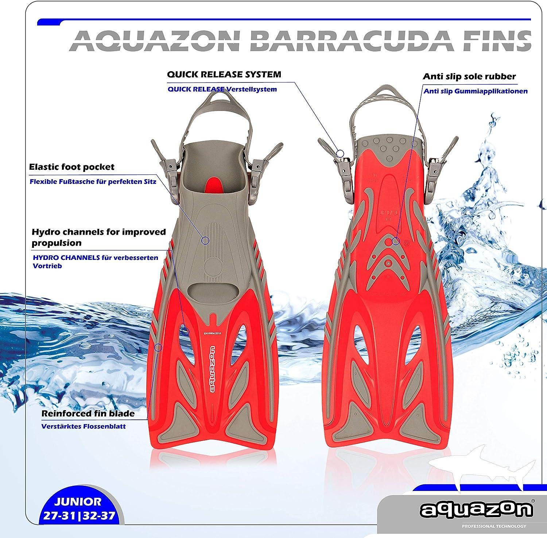 Pinne da Sub Regolabili Size:32//37 Colour:Red Le Immersioni o Come Pinne da Nuoto o Snorkeling Ideali per Lo Snorkeling AQUAZON Pinne da Bambino Barracuda
