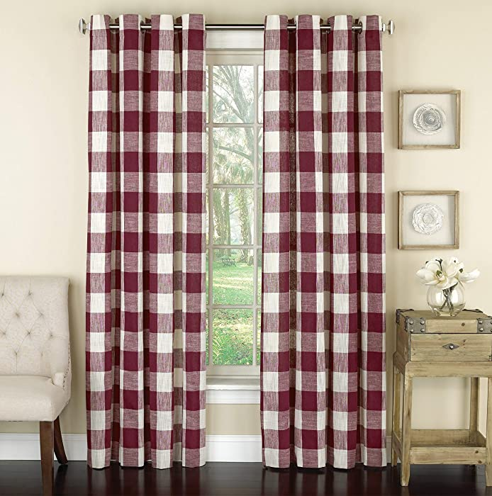 "Lorraine Home Fashions 09570-84-00148 RED Courtyard Grommet Window Curtain Panel, Red, 53"" X 84"""