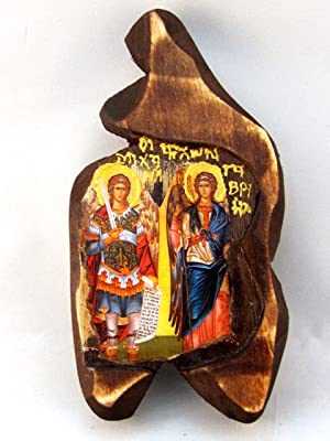 Handmade Wooden Greek Christian Orthodox Wood Icon of Archangels Michael and Gabriel / SF00Handmade Wooden Greek Christian Orthodox Wood Icon of Archangels Michael and Gabriel / SF00