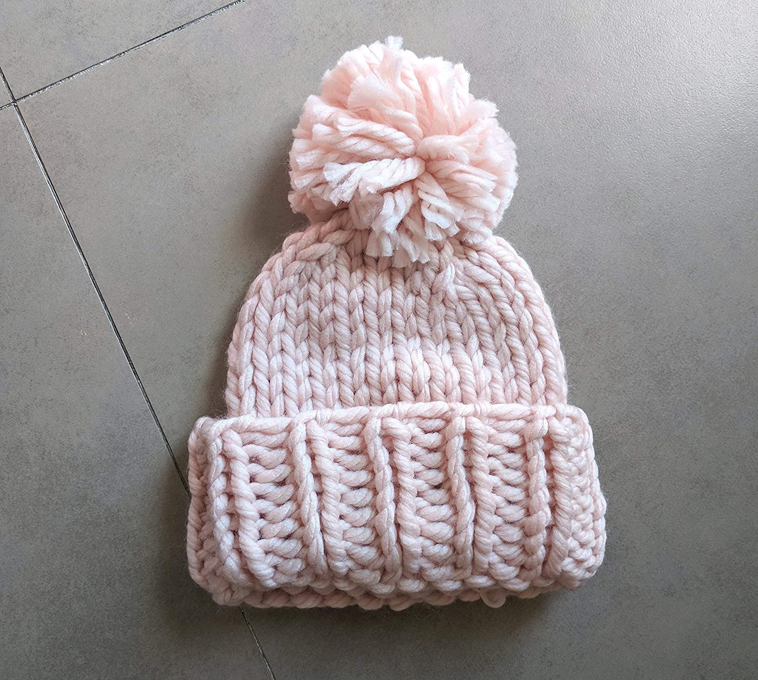 671af62319c Amazon.com  Super Chunky Knit Hat With Pom - Pink  Handmade