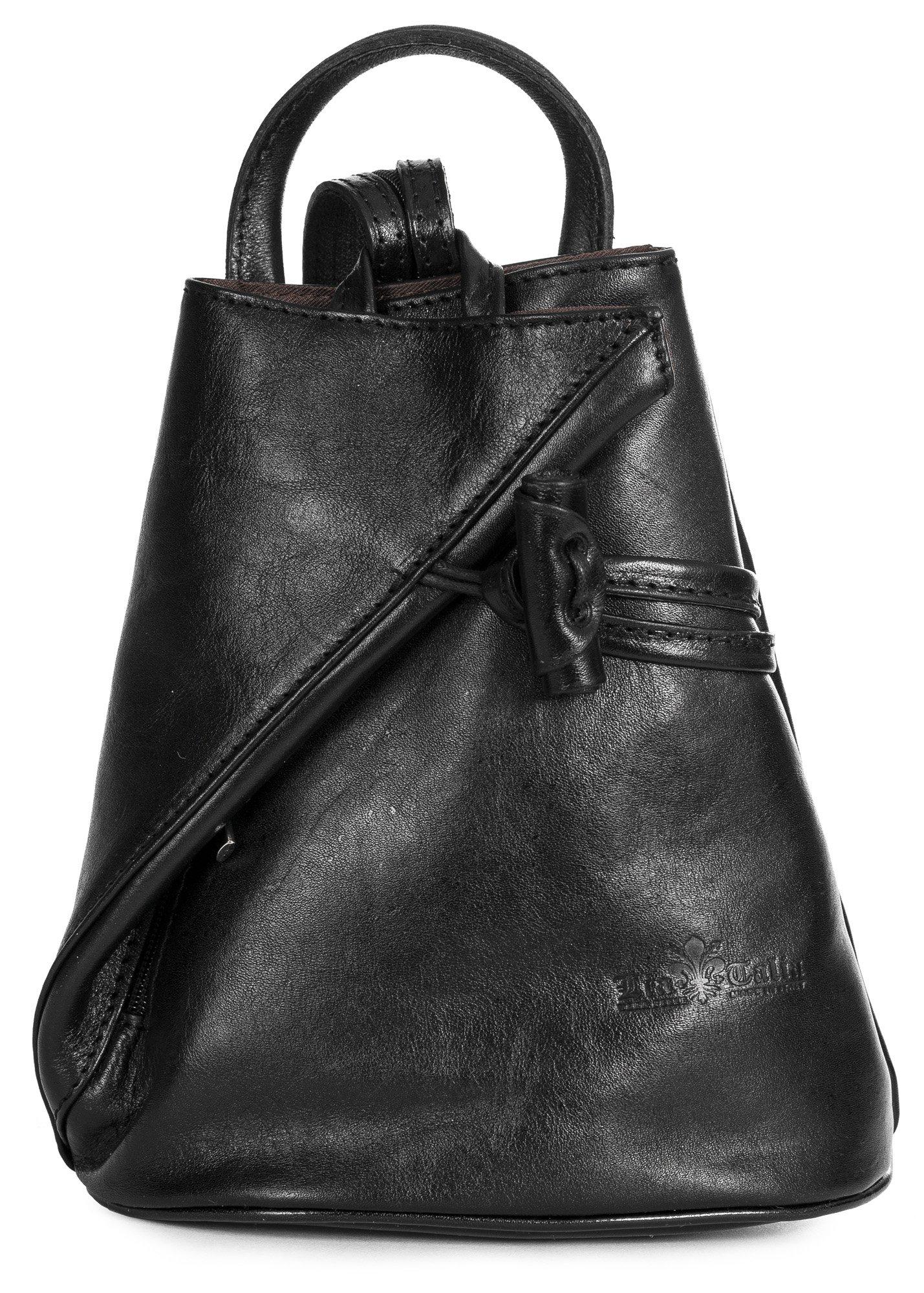 LiaTalia Vera Pelle Made In Italy Brady byLiaTalia Womens Mens Adult Convertible Strap Italian Leather Backpack Rucksack Duffle Shoulder Bag Handbag (Large/Medium - Black Plain)