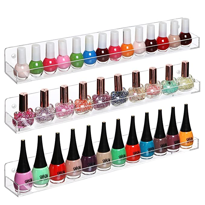 Amazon.com: Set of 3 Wall Mounted Clear Acrylic Nail Polish Floating ...