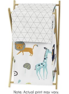 Turquoise and Navy Blue Safari Animal Long Front Crib Rail Guard Baby Teething Cover Protector Wrap for Mod Jungle Collection by Sweet Jojo Designs B073VXK3QH