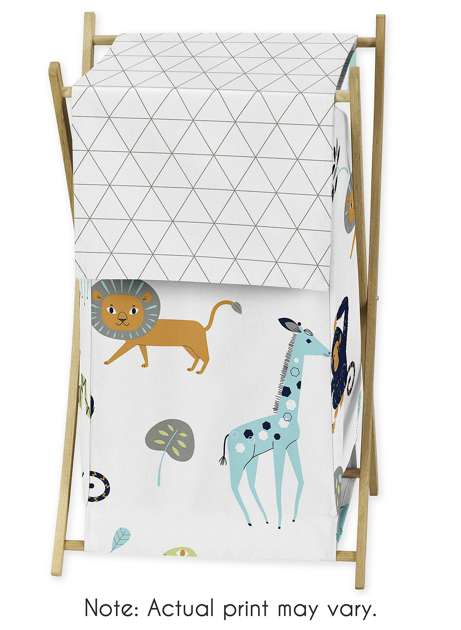 Sweet Jojo Designs Turquoise and Navy Blue Safari Animal Baby Kid Clothes Laundry Hamper for Mod Jungle Collection by by Sweet Jojo Designs