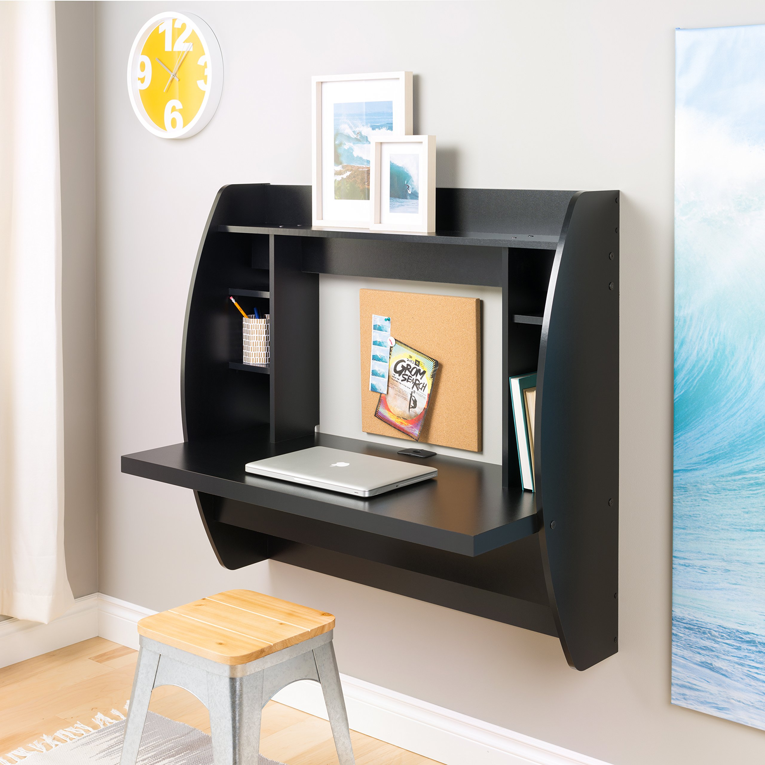 Prepac Wall Mounted Floating Desk with Storage in Black by Prepac