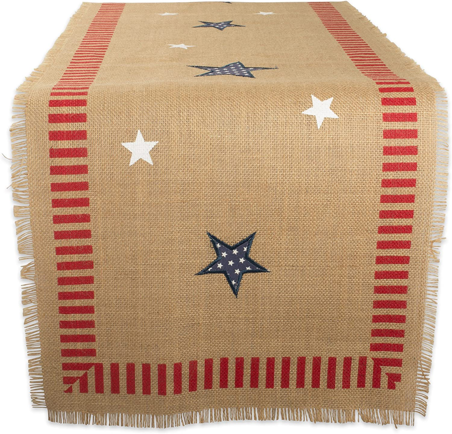 "DII 14x74"" Jute/Burlap Table Runner, 4th of July - Perfect for Independence Day, July 4th Party, Summer BBQ and Outdoor Picnics"