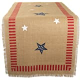 """DII 14x74"""" Jute/Burlap Table Runner, 4th of July - Perfect for Independence Day, July 4th Party, Summer BBQ and Outdoor Picnics"""