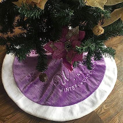yuboo Purple Christmas Tree Skirt, 36 inch Fur Tree Skirt with White Edge  for Christmas - Amazon.com: Yuboo Purple Christmas Tree Skirt, 36 Inch Fur Tree