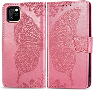 Flip Floral Wallet Case Compatible with iPhone 11 6.1 inch Case,for Women,Butterfly Embossed Folio Flip PU Leather Magnetic Wallet Shockproof Full Body Protective Purse w/Money Pocket-Pink