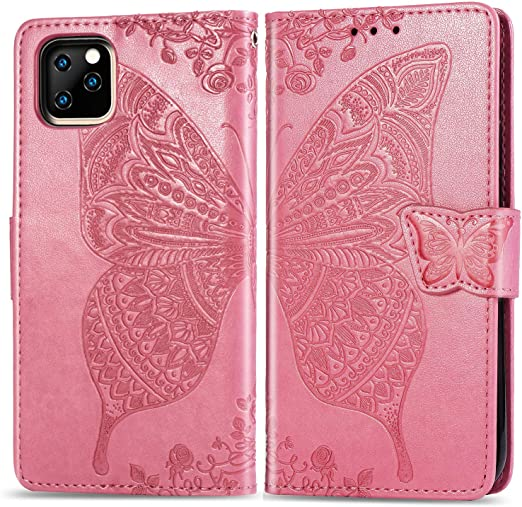 Positive Cover Compatible with iPhone 11 Pink PU Leather Wallet Flip Case for iPhone 11