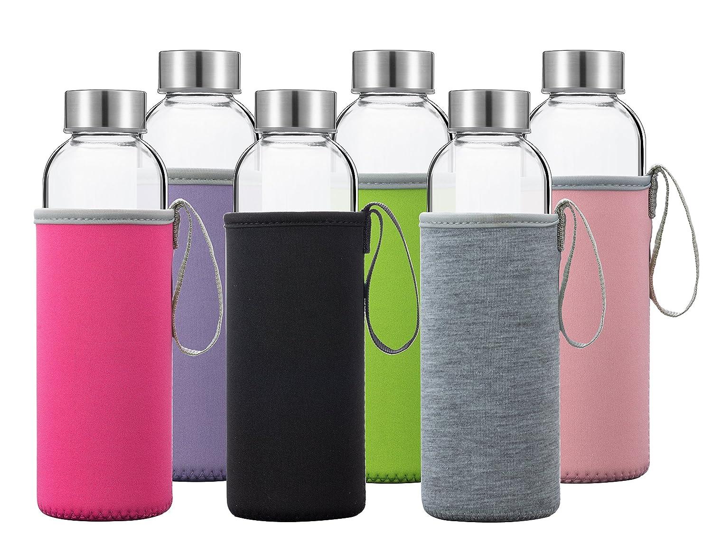 Glass Water Bottles 6 Pack Deluxe Set 18oz - Includes 6 Sleeves. Stainless Steel Lids - Kombucha, Juice, Tea