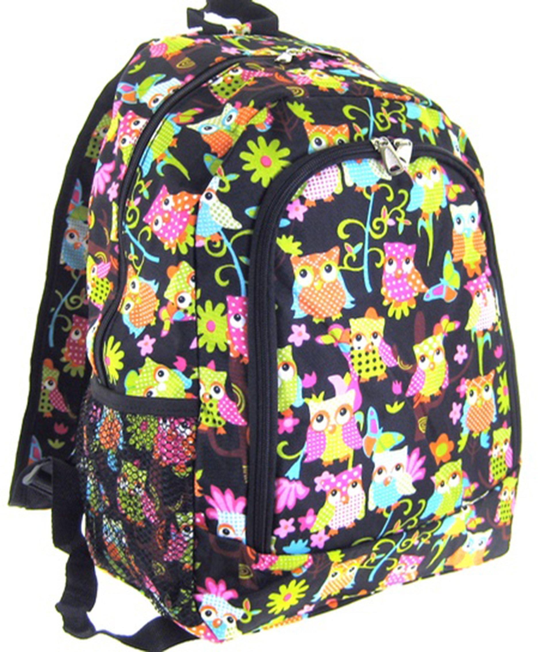 Owl Print 16'' Backpack School Travel Teen Girls Dance Cheer Diaper Bag