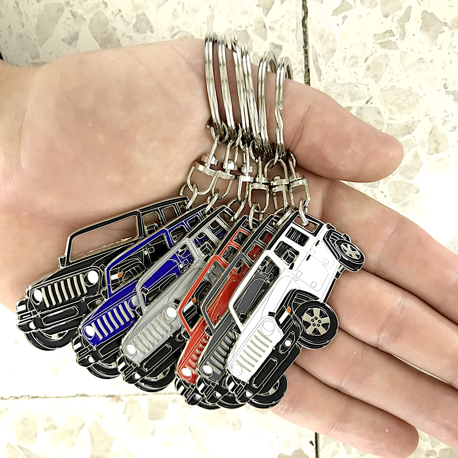 enamel Wrangler unlimited 4 doors key chain for car accessories Chrome metal tag silver Replica.