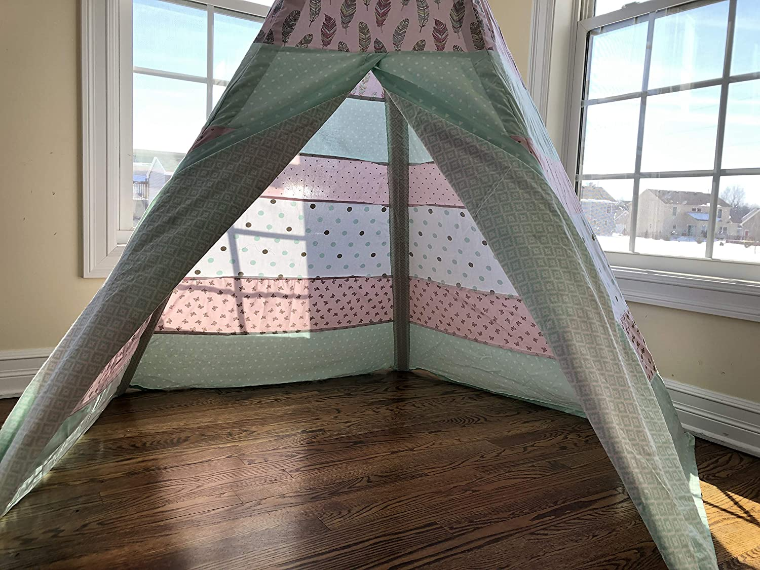 Classic Feathers Nature Pink and Mint Striped Teepee Tent