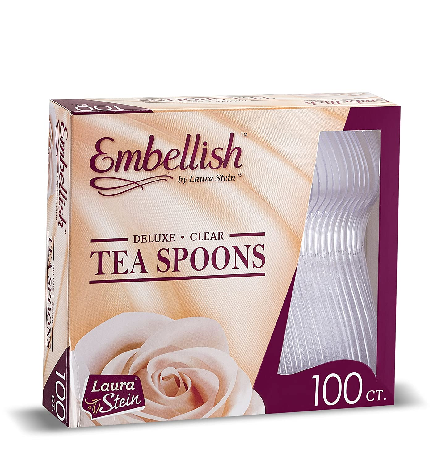 Embellish Cutlery Deluxe Heavy Weight Clear Plastic Tea Spoons 100 Tea Spoons In A Box KCH Corporation COMINHKPR141642
