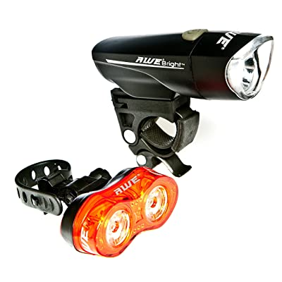 AWE Awebrighttm 1x Super Bright LED avant et arrière à LED 0,5W X 2Ensemble de lampe de vélo pour 140lumens