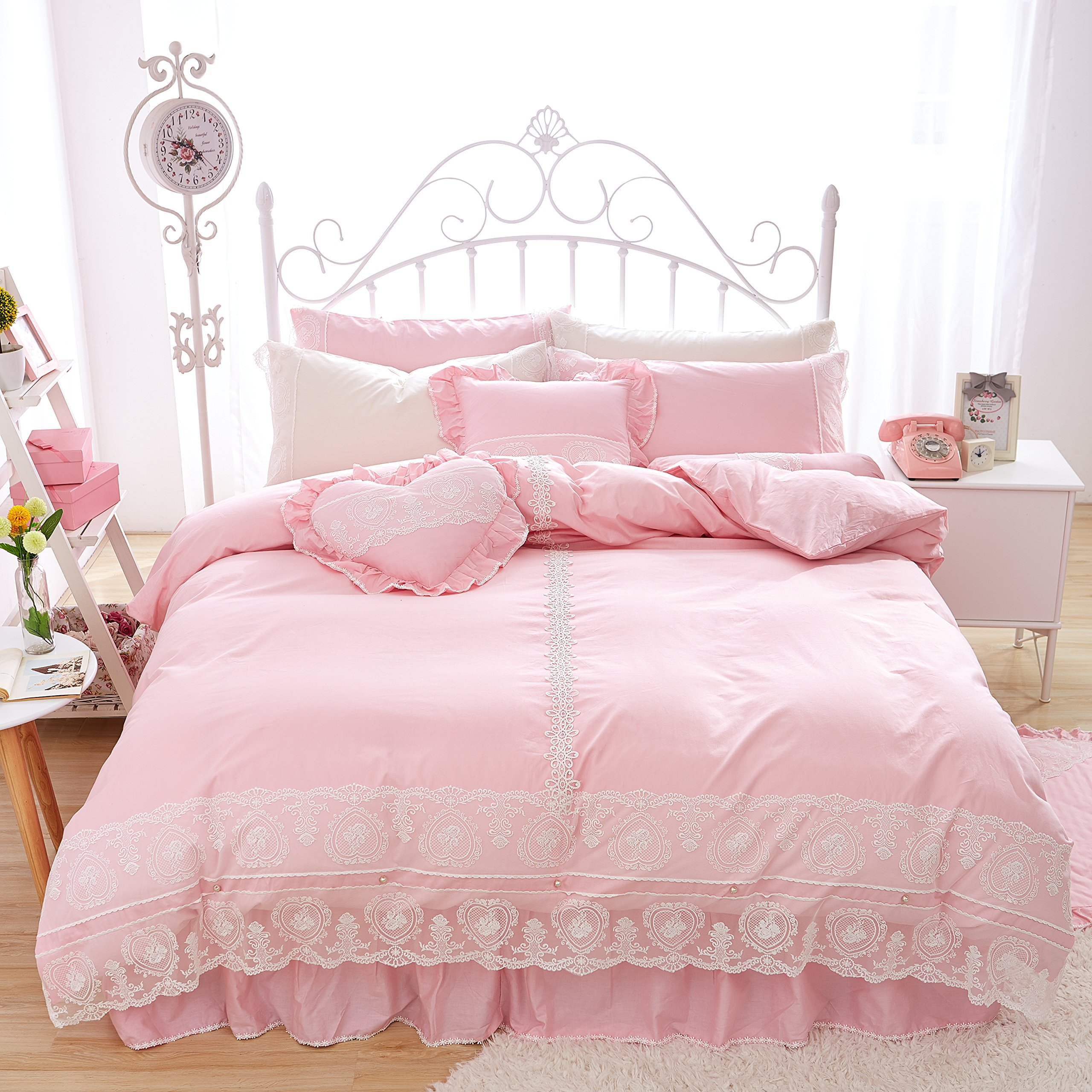 FADFAY Home Textile,Beautiful Korean Lace Bedding Sets,Luxury Girls Pink Lace Ruffle Bedding Sets,Romantic Princess Wedding Bedding Set,Girls Fairy Bedding Sets