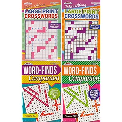 Combo Pack of 2 Word Finds Puzzle Book For Adults and 2 Large Print Crossword Puzzle Books For Adults (titles may vary): Toys & Games