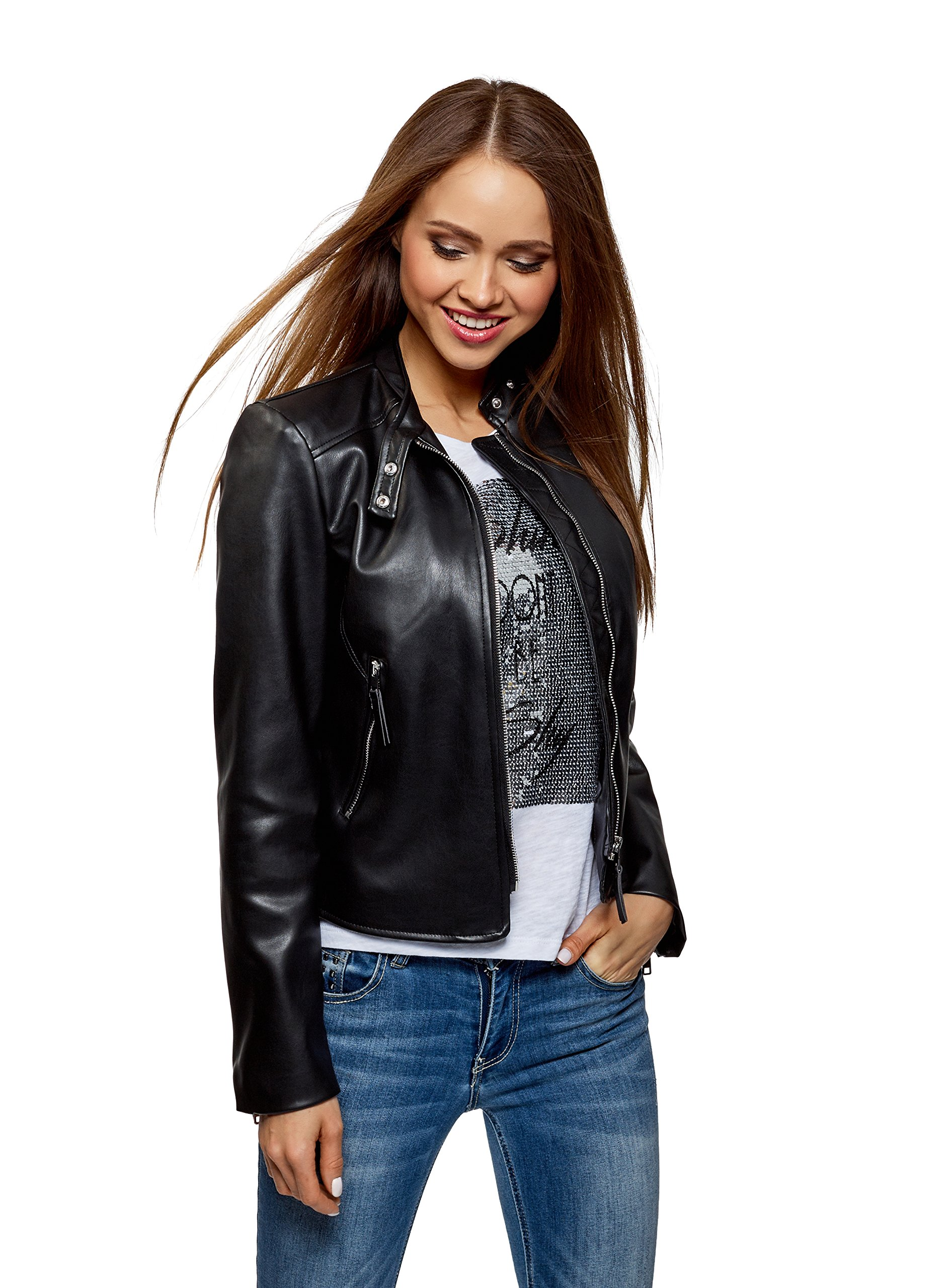 oodji Ultra Women's Faux Leather Jacket with Stand Collar, Black, 2 by oodji