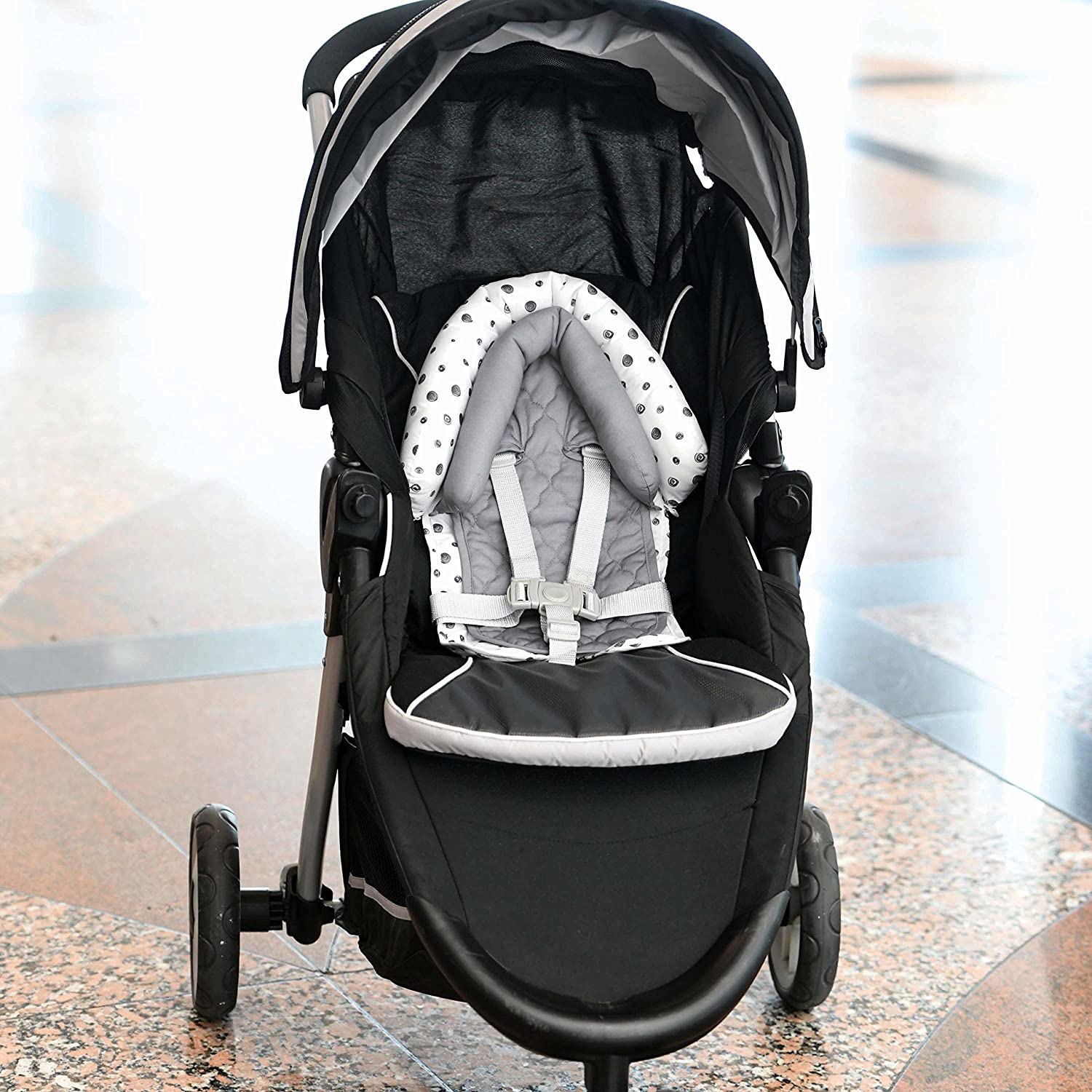 Travel Bug Baby 2-in-1 Head Support for Car Seats White//Grey