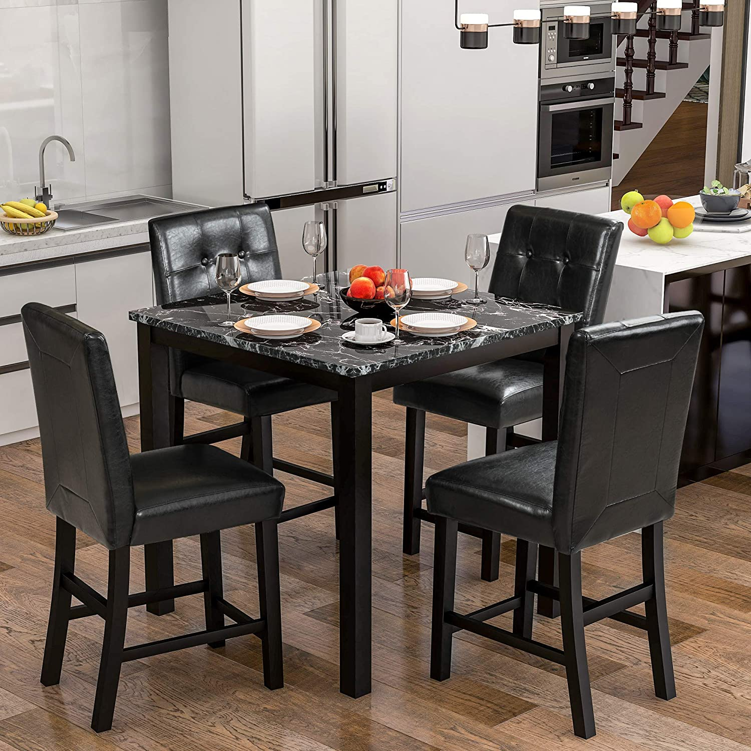 Lz Leisure Zone Dining Table Set For 4 Kitchen Table Set Faux Marble Veneer Wooden Top Counter Height Dining Room Table Set With 4 Leather Upholstered Chairs Black Table