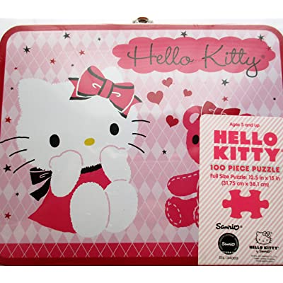 Hello Kitty At The Zoo 100 Piece Puzzle in Lunch Box Tin: Jigsaw Puzzles: Kitchen & Dining