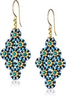 product image for Miguel Ases Blue Green Small Diamond-Shape Earrings
