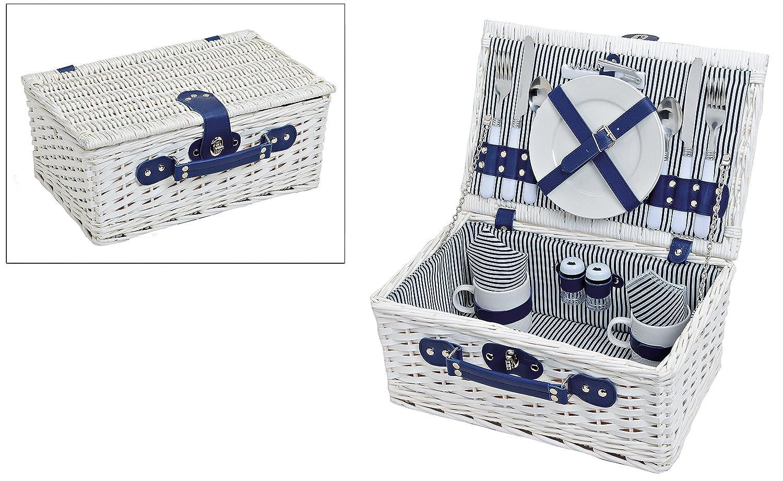 #Picknickkorb in weiß für 2 Personen, inkl. 16-tlg. Zubehör#
