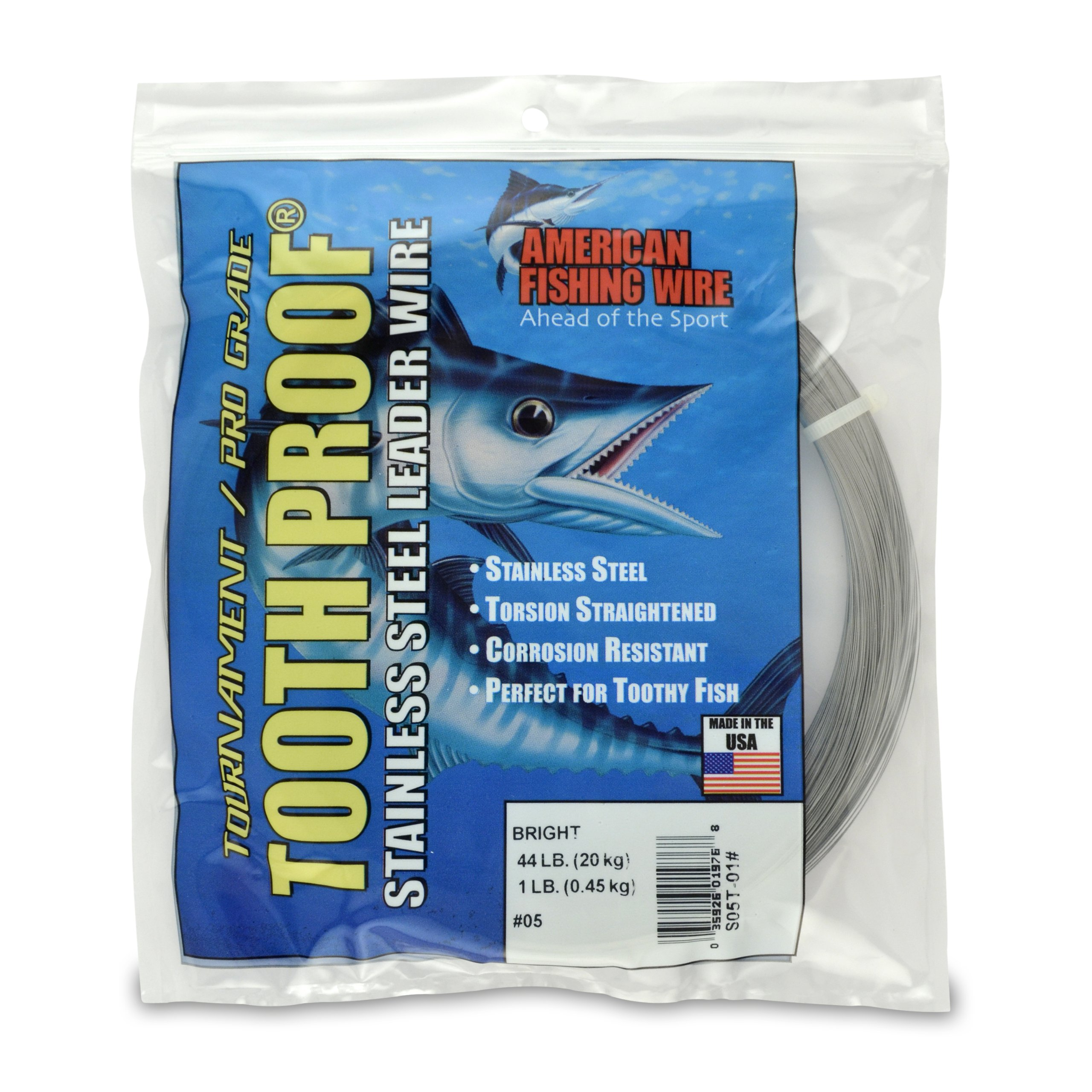 American Fishing Wire Tooth Proof Stainless Steel Single Strand Leader Wire, Size 5, Bright Color, 44 Pound Test, 1 Pound Coil