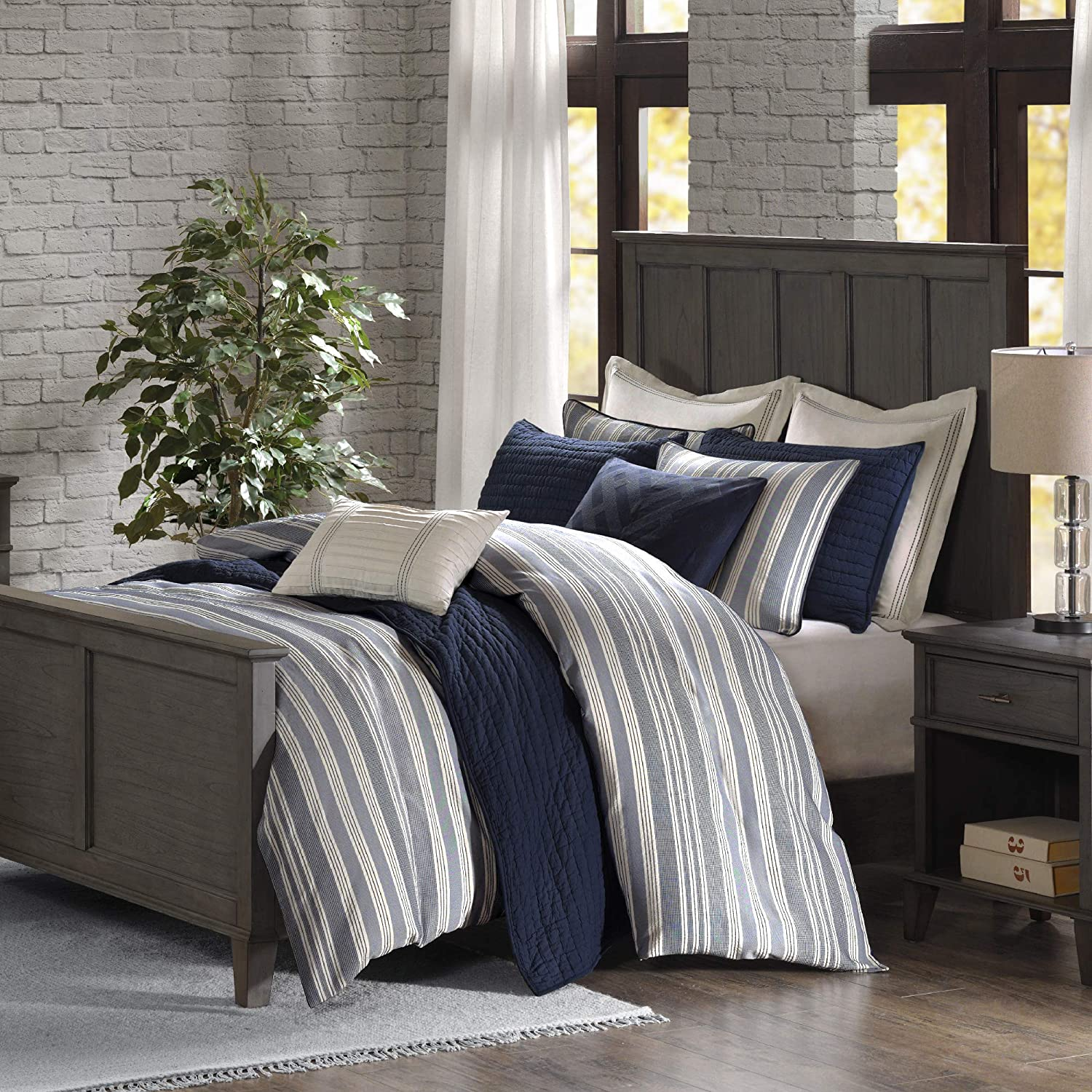 """MADISON PARK SIGNATURE Cozy Comforter Set - Rustic Lodge Style Combo Filled Insert, Removable Duvet Cover. Matching Shams, Decorative Pillows, Queen(92""""x96""""), Farmhouse Cabin, Stripe Blue 8 Piece"""