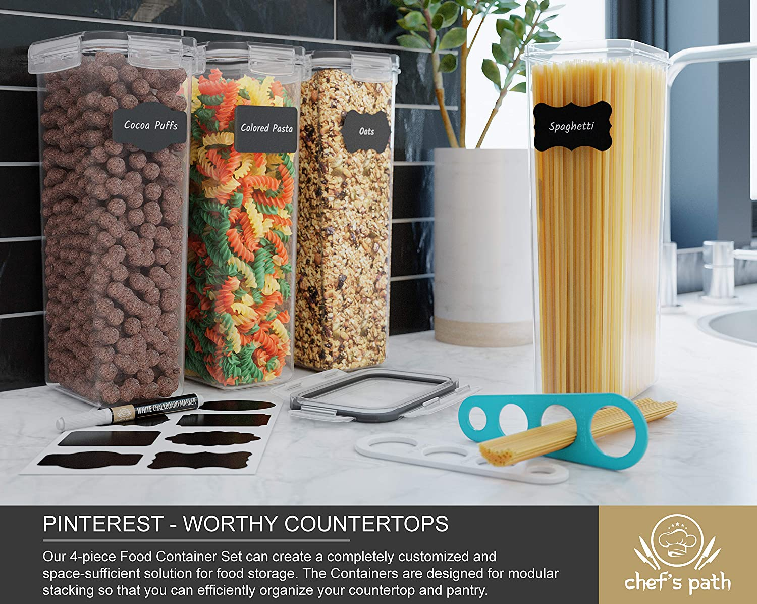 Chef's Path Airtight Tall Food Storage Container Set - Ideal for Spaghetti, Noodles & Pasta - 4 PC/All Same Size - Kitchen & Pantry Organization - Plastic Canisters with Durable Lids (Black): Kitchen & Dining