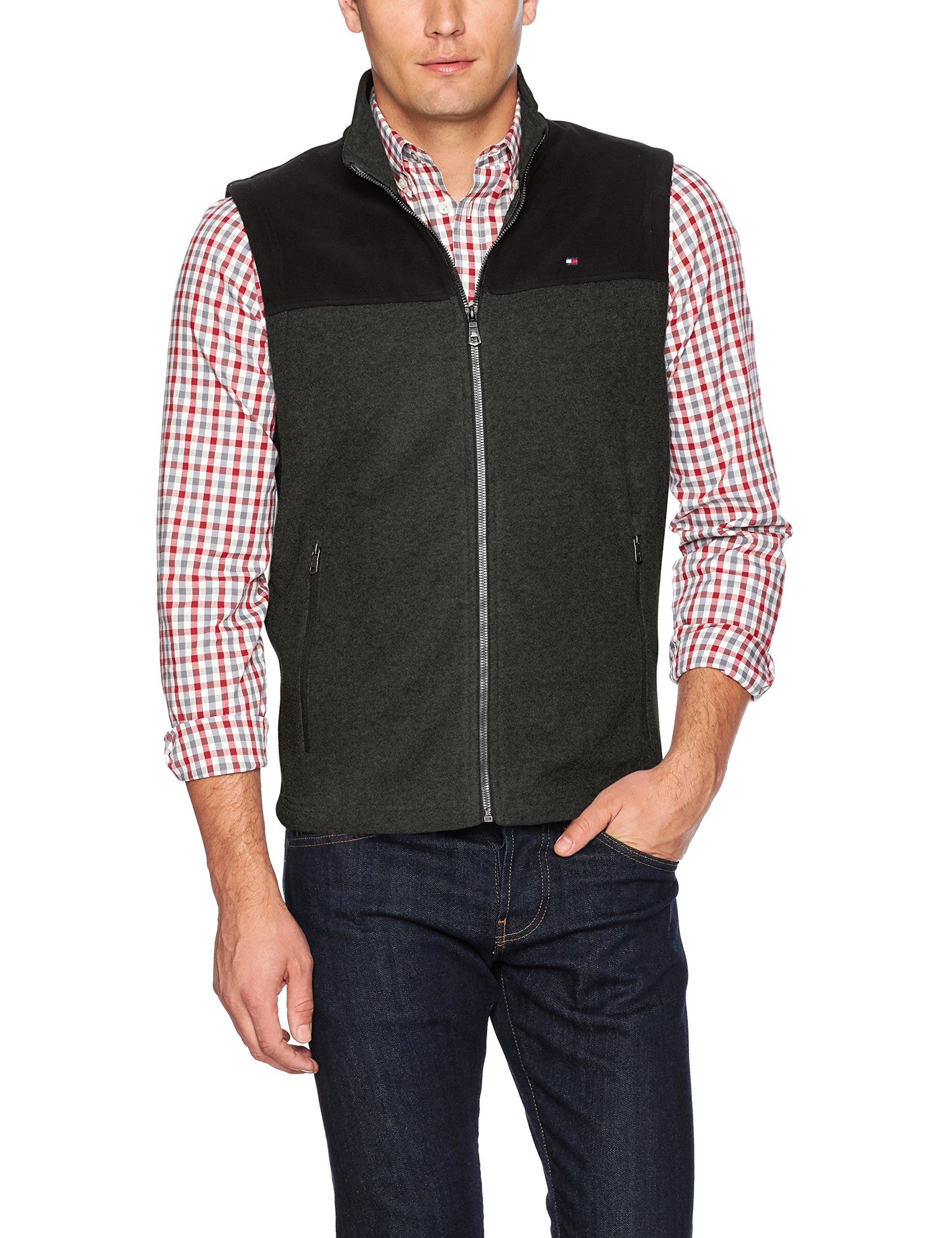 Tommy Hilfiger Men's Polar Fleece Vest, Black/Charcoal, Large