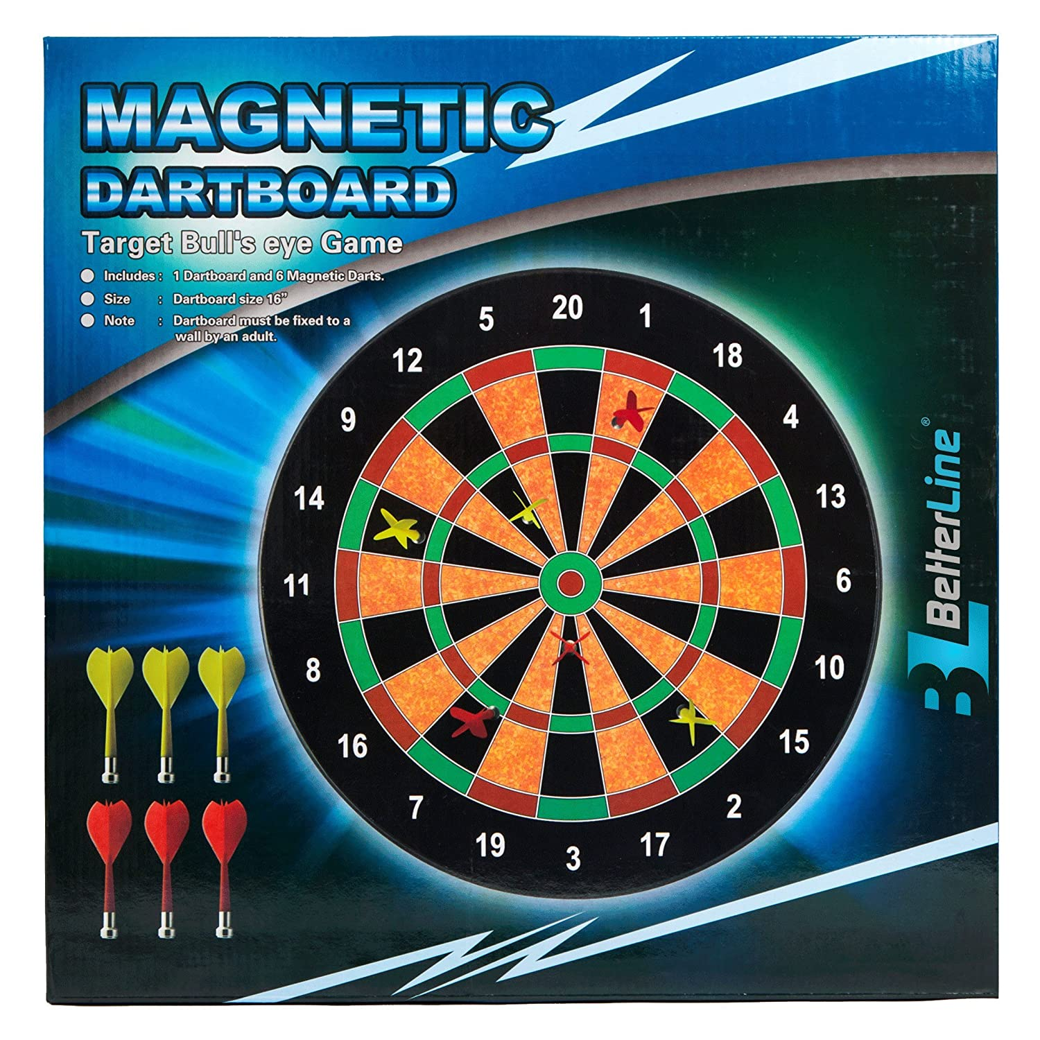 amazon com better line magnetic dart set with 16 inch dartboard