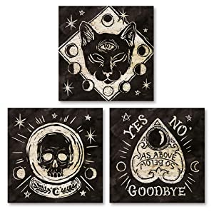 Gango Home Decor Eclectic Mystical Halloween Wood I, II, III by Mary Urban (Printed on Paper); Three 12x12in Unframed Paper Posters
