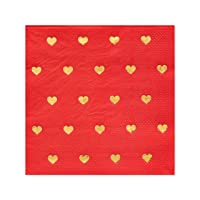 Papyrus Valentine's Day Heart Lunch, 20-Count napkins, large, red