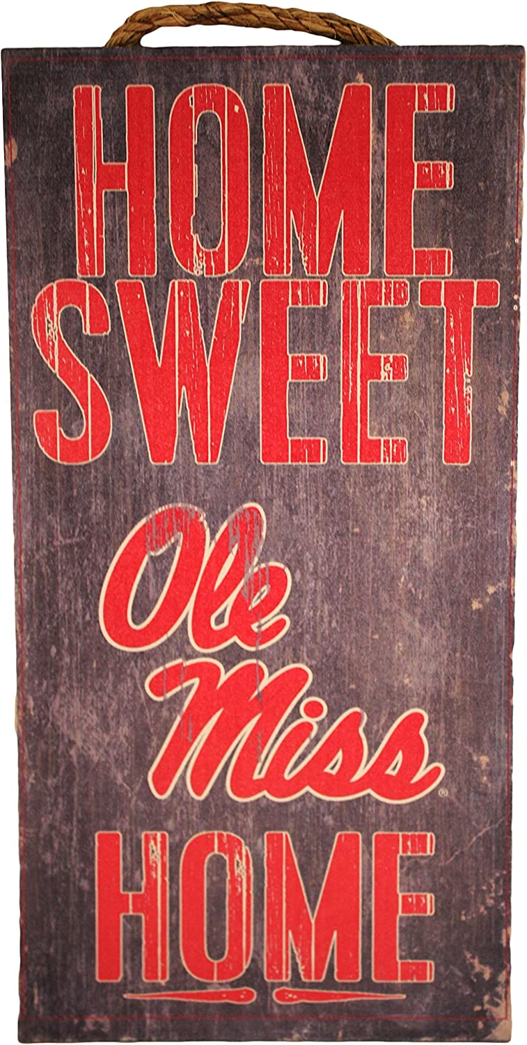 "Fan Creations NCAA Ole Miss Rebels 6"" x 12"" Home Sweet Home Wood Sign"