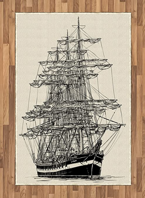 Ambesonne Pirate Ship Area Rug Sailing Boat Detailed Illustration Nautical Maritime Theme Vintage Style Art Flat Woven Accent Rug For Living Room Bedroom Dining Room 4 X 5 7 Cream Black Kitchen