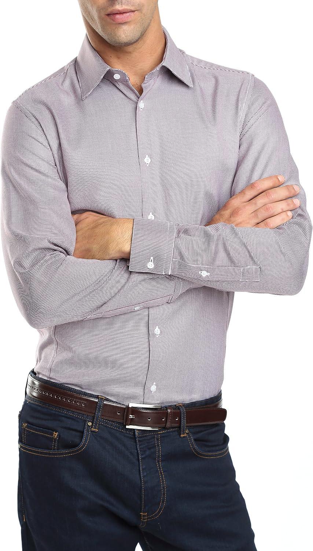 Caramelo, Camisa Vestir Slim Con Contrastes, Hombre · Granate, talla 50: Amazon.es: Ropa y accesorios