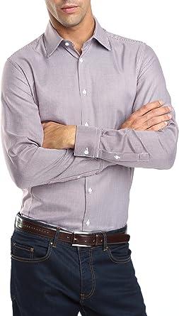 Caramelo, Camisa Vestir Slim Con Contrastes, Hombre · Granate ...