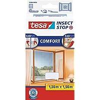 tesa Insect Stop COMFORT Fliegengitter für Fenster/Insektenschutz mit selbstklebendem Klettband in Weiß/130 cm x 150 cm