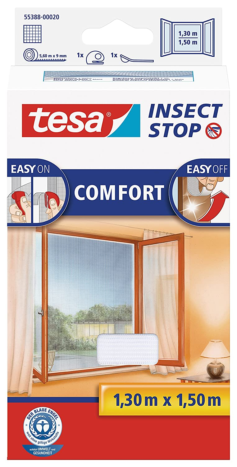 tesa 55388-00020-00 Insect Stop Hook and Loop Comfort For Windows, Removable, Easy-On and Easy-Off Insect Screen, 1.3 x 1.5 m - White Adhesive bed fly screen easy opening plastic high quality Mosquito net aluminium frame door blind window blind retractable